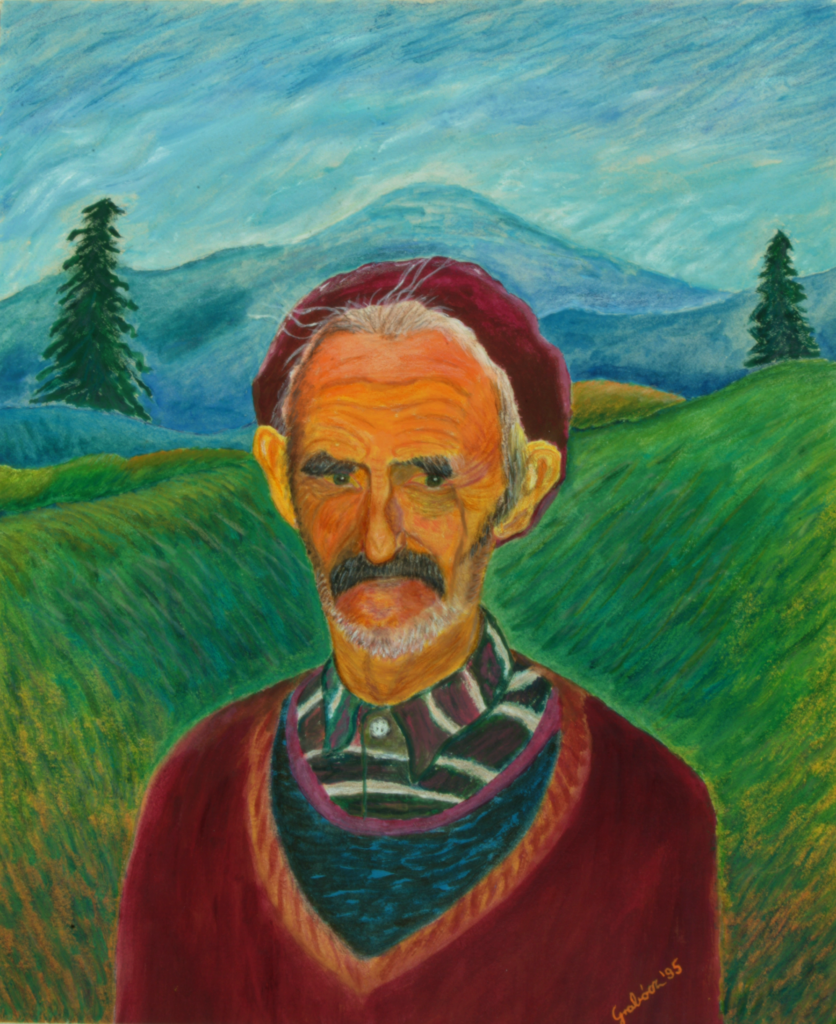 A Shepherd in Transylvania (acrylic, aquarelle-pencil on paper, 34x41 cm), 1995