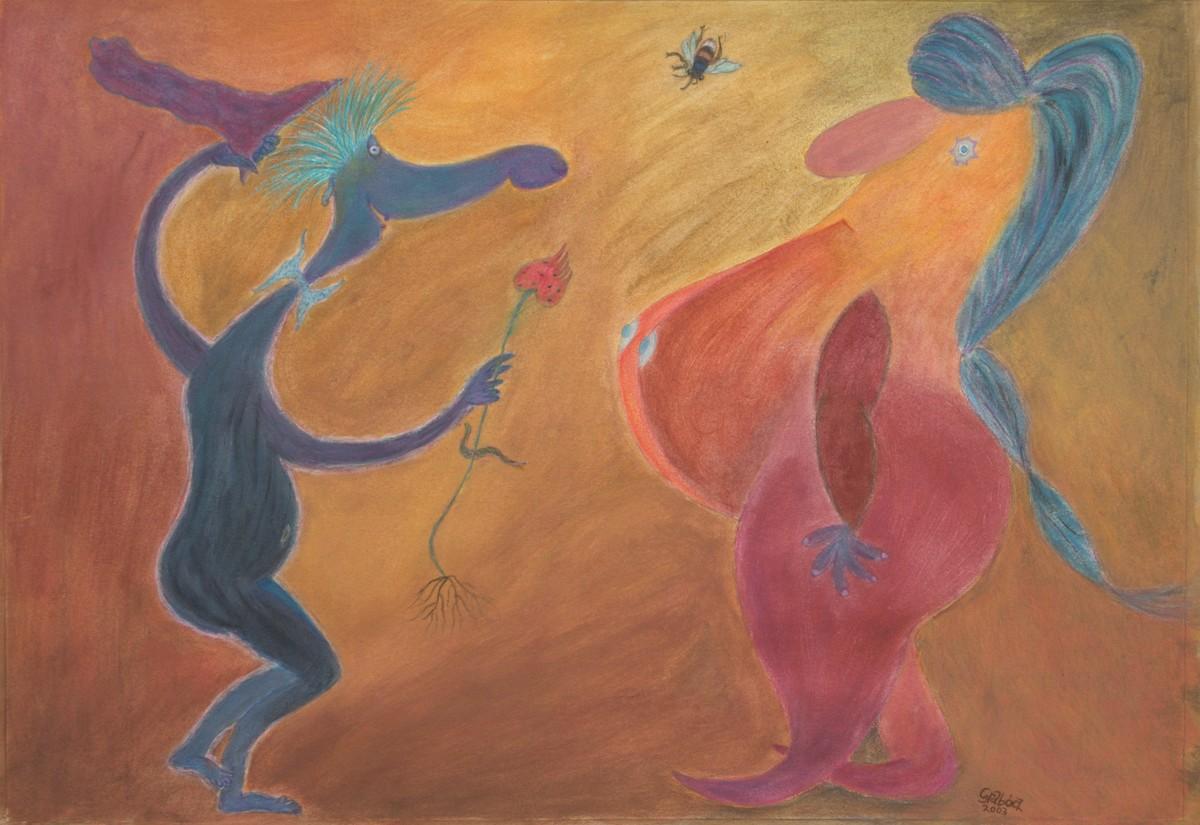 Randevú (akril, karton, 70x50 cm), 2003