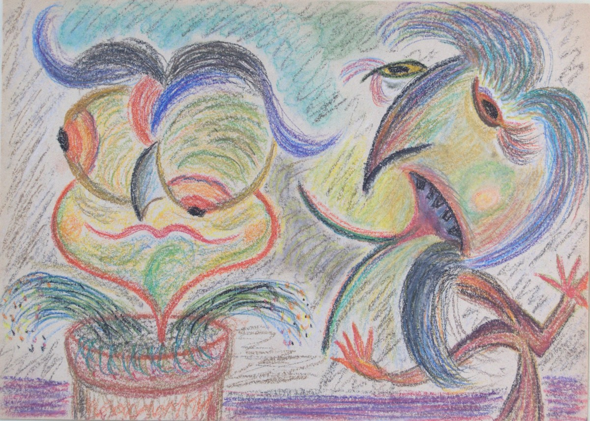 Still Life with Voices (pastel on paper, 30x21.5 cm), 1990