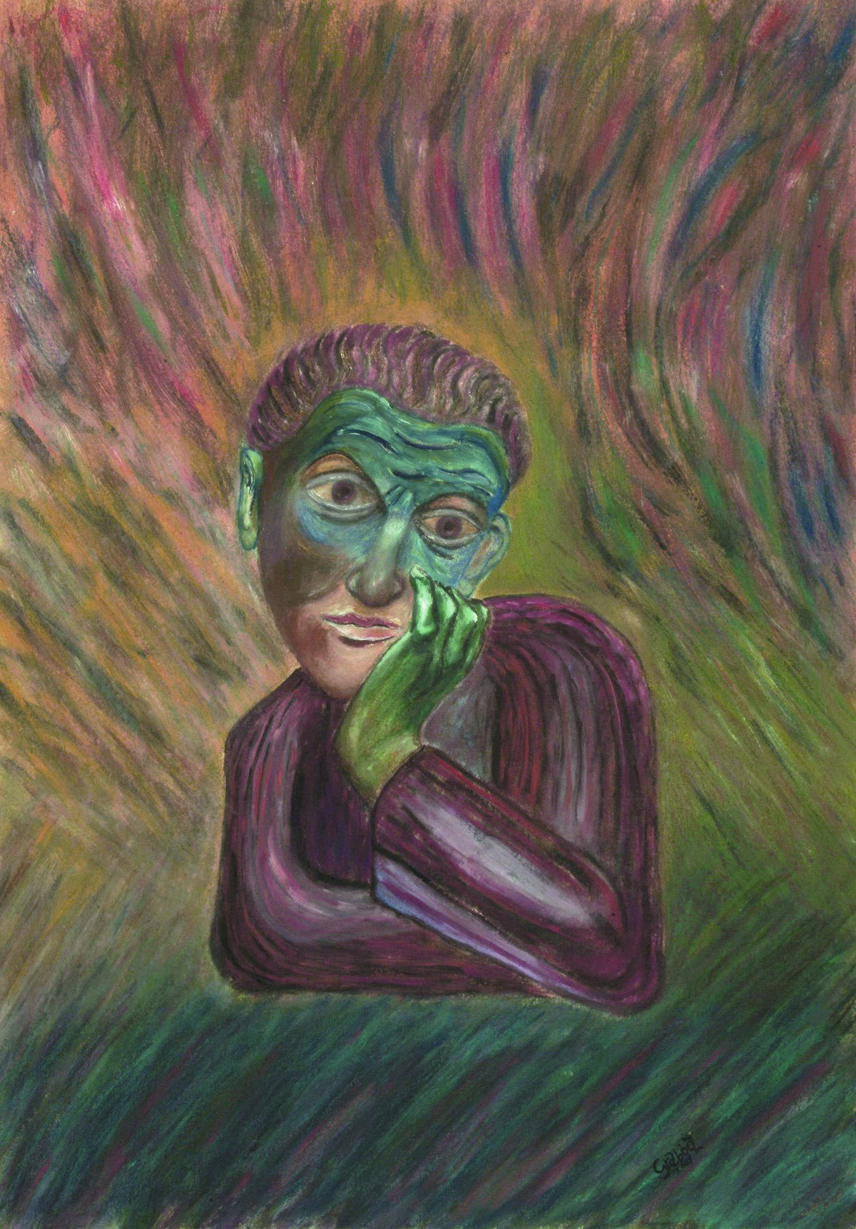 A Look from the Middle Ages (acrylic on cardboard, 70x50 cm), 2007