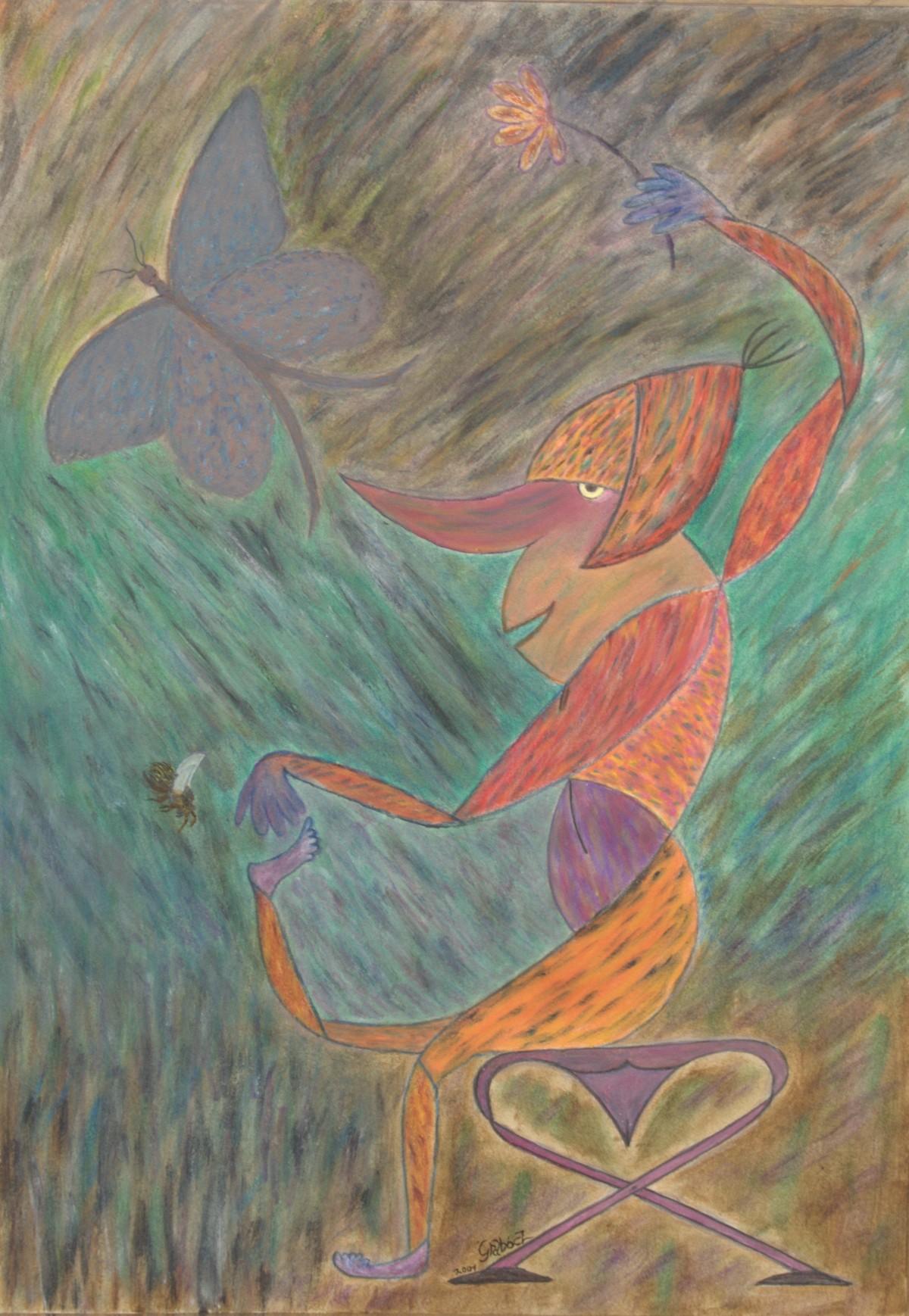 Idill (akril, karton, 49,4x69,7 cm), 2001-10