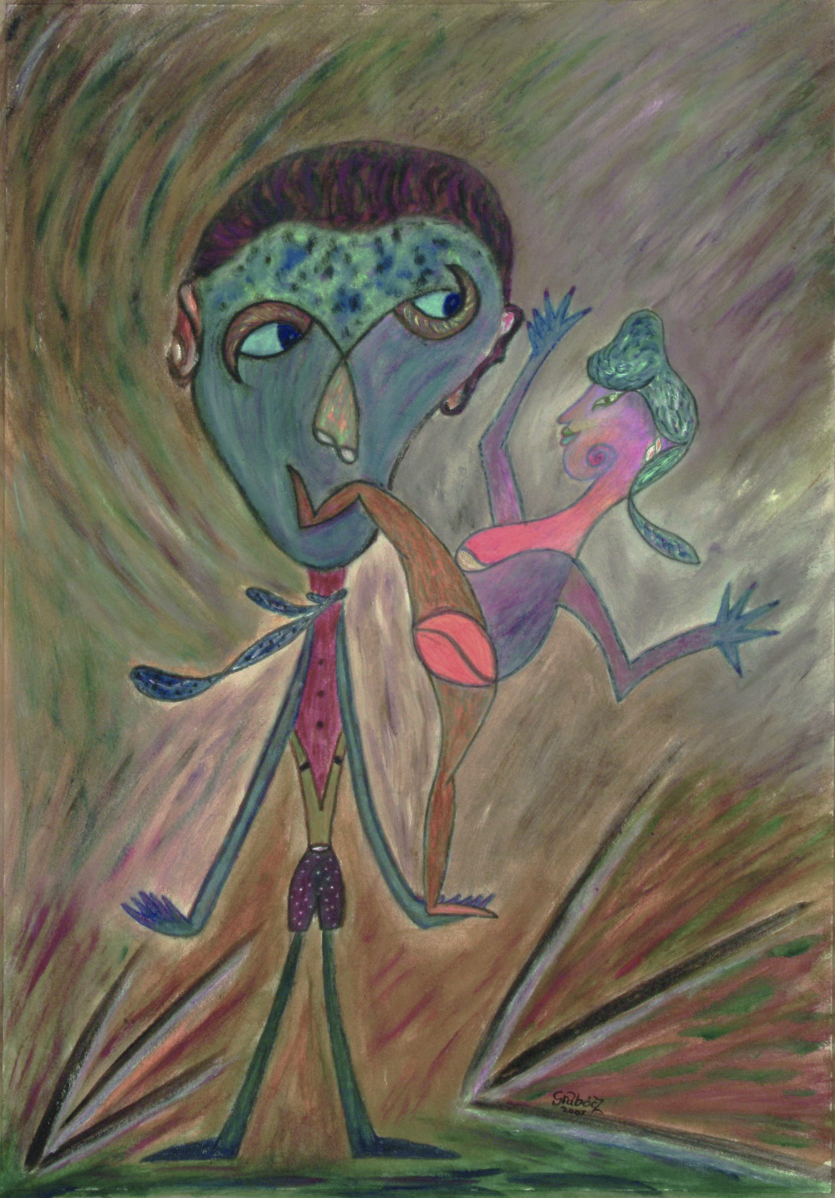 Performance  (acrylic on cardboard, 50x70 cm), 2007