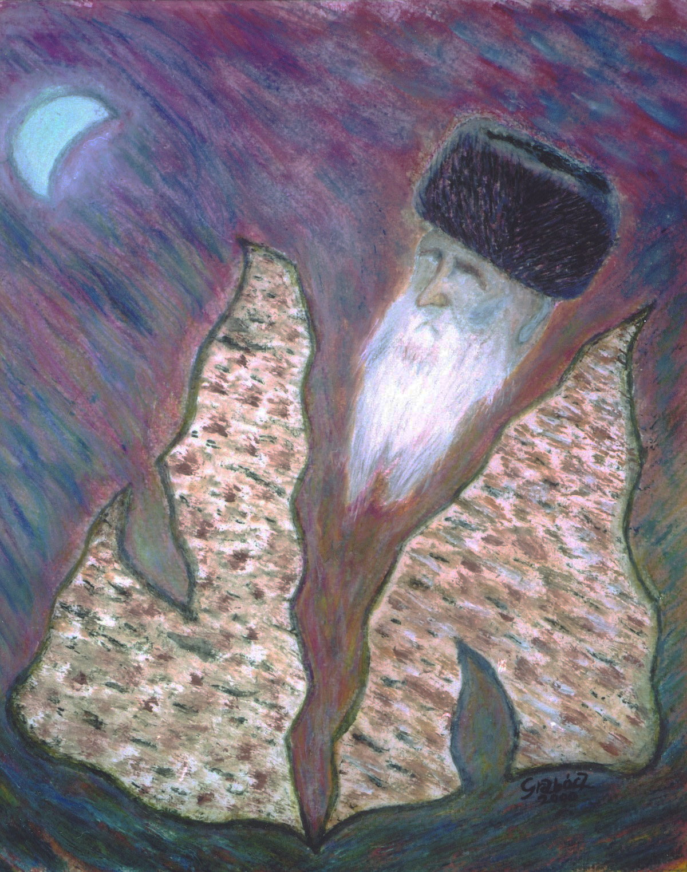 Seder Night  (acrylic, cardboard, 25x35 cm), 2000