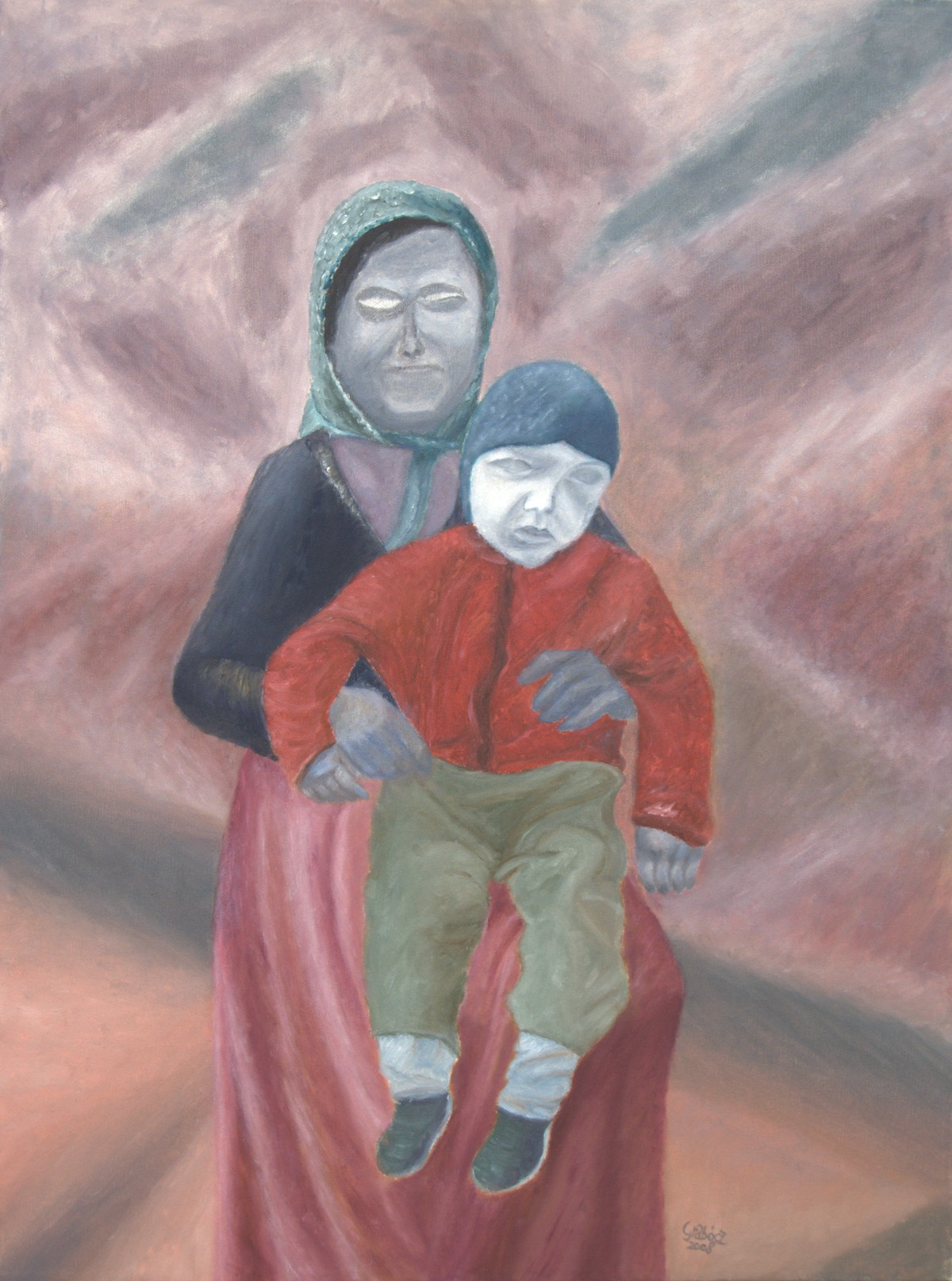 Woman and Child (oil on canvas, 60x80 cm), 2008